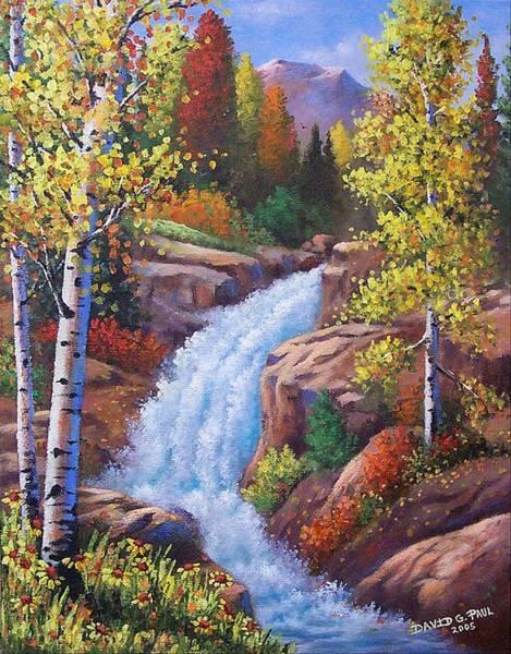 Wall Art - Painting - Alberta Falls by David G Paul