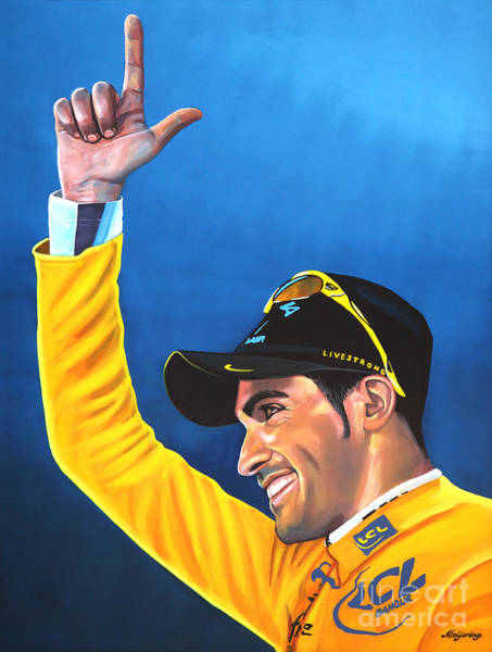 Plateau Wall Art - Painting - Alberto Contador by Paul Meijering