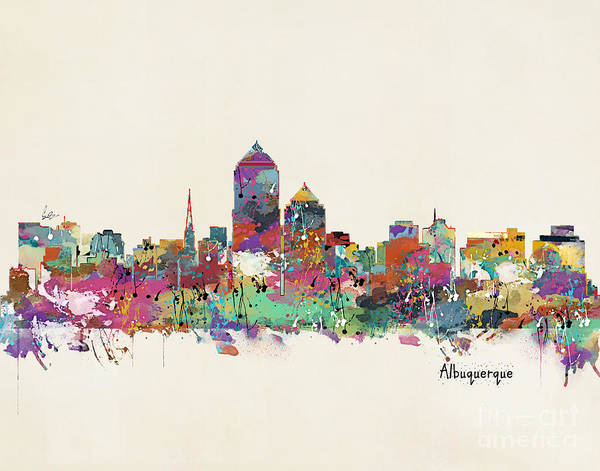 Mexican Painting - Albquerque New Mexico Skyline by Bri Buckley