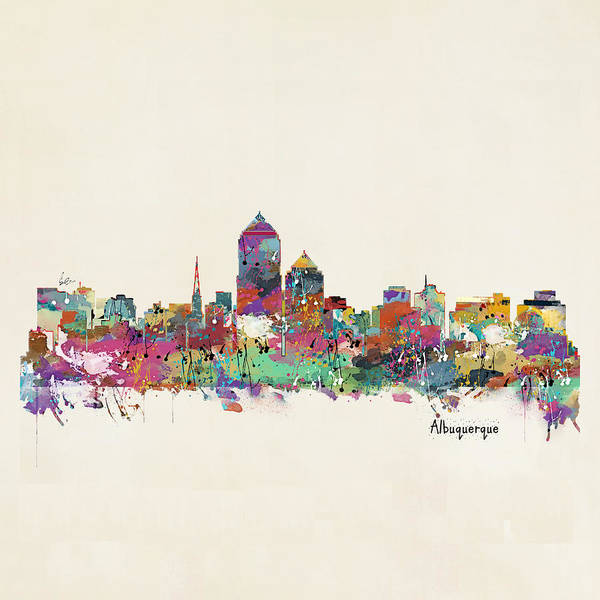 New Home Painting - Albquerque New Mexico Skyline Pillow by Bri Buckley