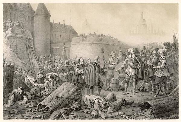 Wall Art - Drawing - Albrecht Von Wallenstein And Swedish by Mary Evans Picture Library