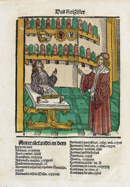 Arte Photograph - Alchemist With His Student by National Library Of Medicine