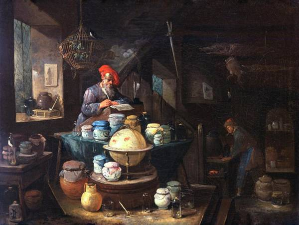 1600s Wall Art - Photograph - Alchemist Working by Will Brown/chemical Heritage Foundation/science Photo Library