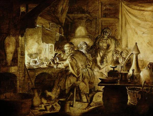 1600s Wall Art - Photograph - Alchemist's Workshop by Gregory Tobias/chemical Heritage Foundation/science Photo Library