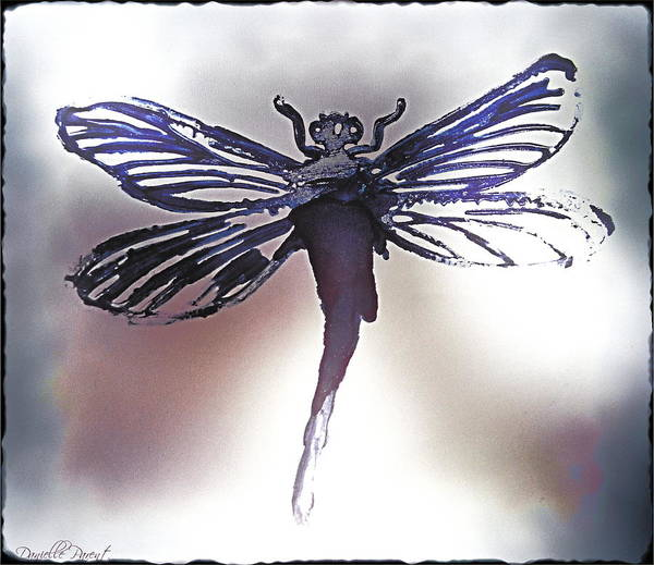 Painting - Alcohol Inks Purple Dragonfly by Danielle  Parent