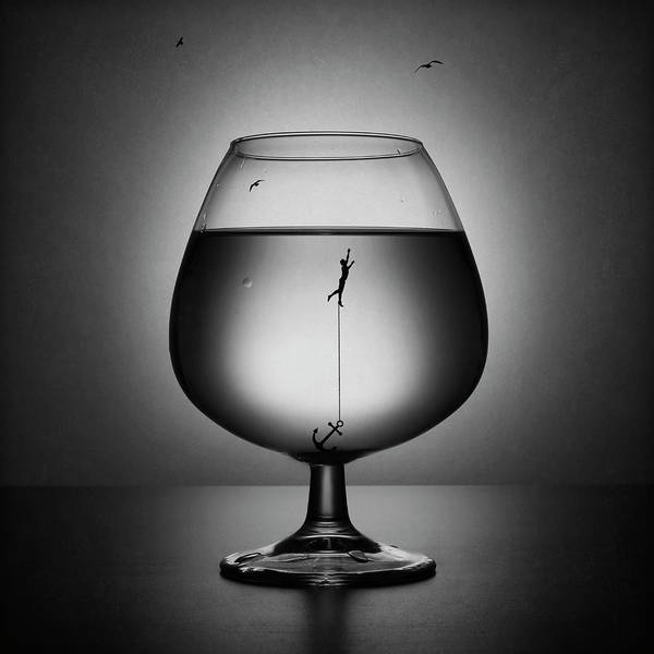 Wall Art - Photograph - Alcoholism. The Drowning by Victoria Ivanova