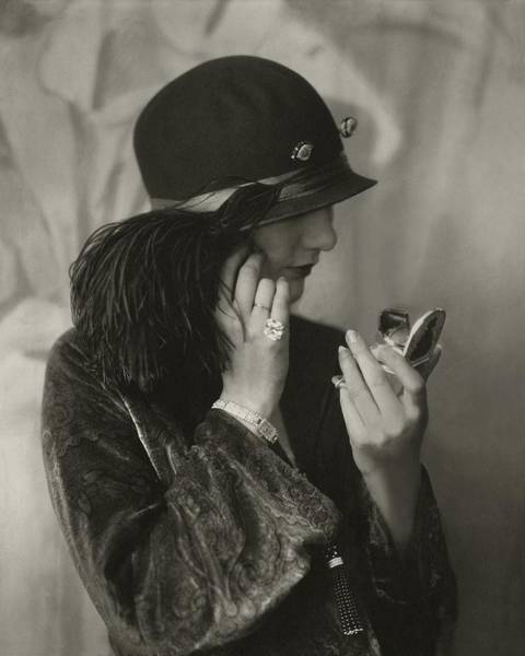 Ostrich Photograph - Alden Gay Wearing A Hat And Cartier Jewellery by Edward Steichen