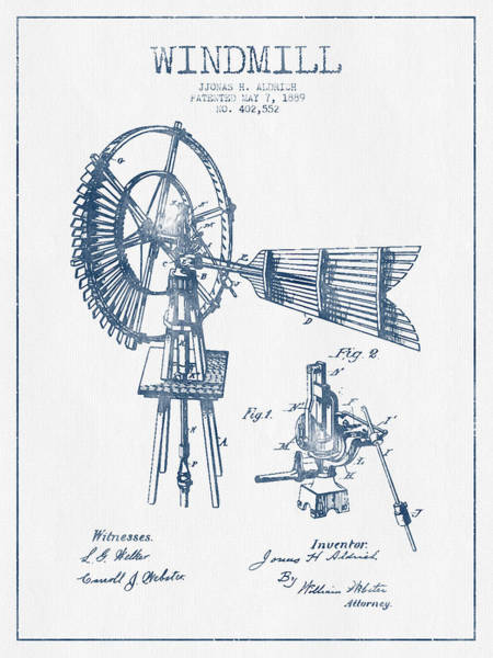 Windmill Digital Art - Aldrich Windmill Patent Drawing From 1889 - Blue Ink by Aged Pixel