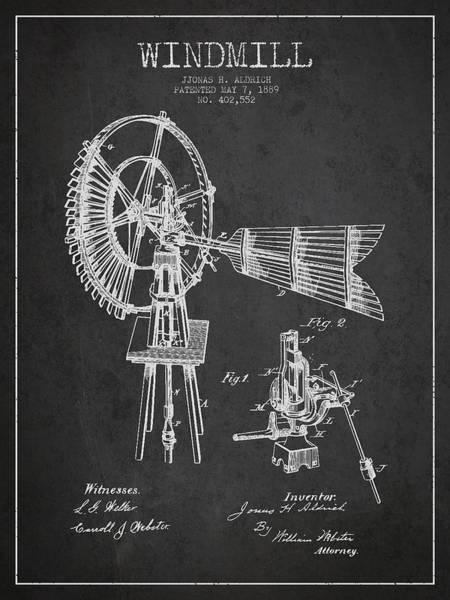 Windmill Digital Art - Aldrich Windmill Patent Drawing From 1889 - Dark by Aged Pixel