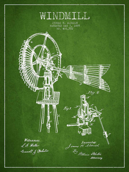 Windmill Digital Art - Aldrich Windmill Patent Drawing From 1889 - Green by Aged Pixel