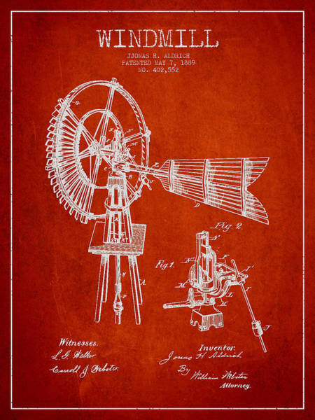 Windmill Digital Art - Aldrich Windmill Patent Drawing From 1889 - Red by Aged Pixel