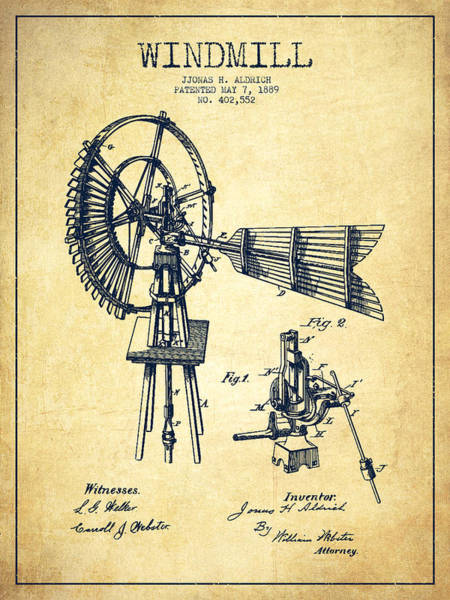 Windmill Digital Art - Aldrich Windmill Patent Drawing From 1889 - Vintage by Aged Pixel