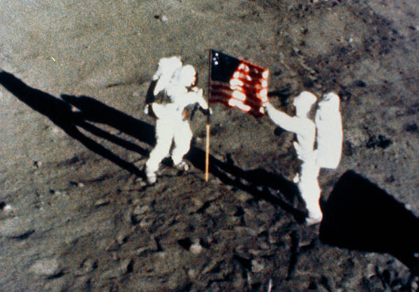 Wall Art - Photograph - Aldrin & Armstrong Planting Us Flag On Moon by Nasa/science Photo Library