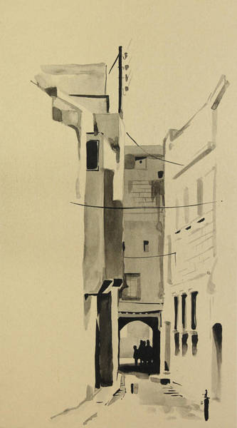 Painting - Aleppo Old City Alleyway 2 by Mamoun Sakkal