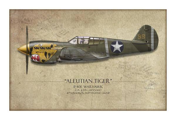 Tinder Wall Art - Painting - Aleutian Tiger P-40 Warhawk - Map Background by Craig Tinder