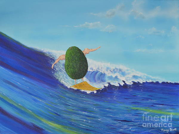Painting - Alex The Surfing Avocado by Mary Scott