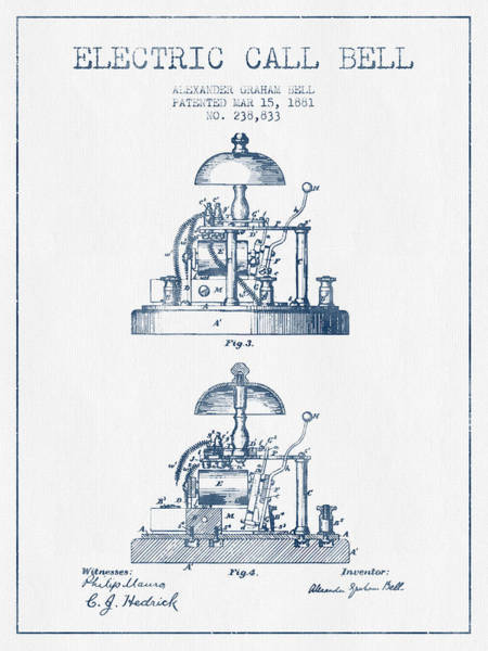 Bell Digital Art - Alexander Bell Electric Call Bell Patent From 1881 - Blue Ink by Aged Pixel