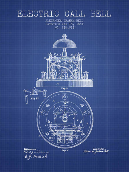 Bell Digital Art - Alexander Bell Electric Call Bell Patent From 1881 - Blueprint by Aged Pixel