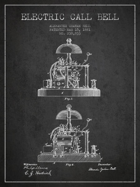 Bell Digital Art - Alexander Bell Electric Call Bell Patent From 1881 - Dark by Aged Pixel