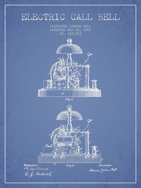Bell Digital Art - Alexander Bell Electric Call Bell Patent From 1881 - Light Blue by Aged Pixel