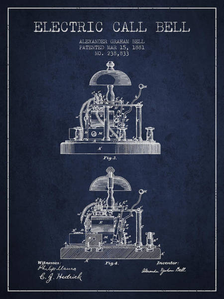 Bell Digital Art - Alexander Bell Electric Call Bell Patent From 1881 - Navy Blue by Aged Pixel