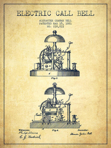 Bell Digital Art - Alexander Bell Electric Call Bell Patent From 1881 - Vintage by Aged Pixel