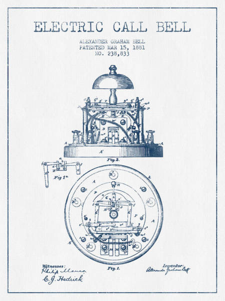 Bell Digital Art - Alexander Graham Bell Electric Call Bell Patent From 1881 - Blue by Aged Pixel