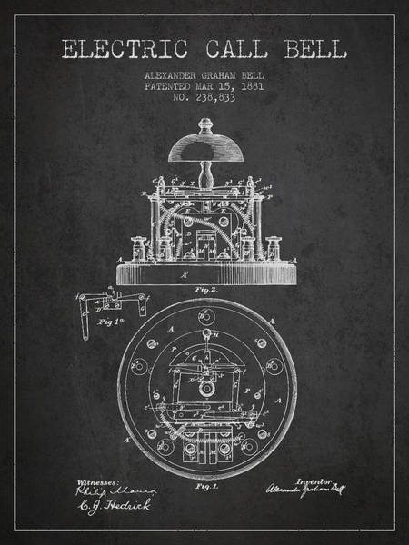 Bell Digital Art - Alexander Graham Bell Electric Call Bell Patent From 1881 - Dark by Aged Pixel
