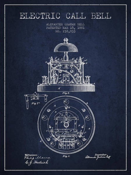 Bell Digital Art - Alexander Graham Bell Electric Call Bell Patent From 1881 - Navy by Aged Pixel