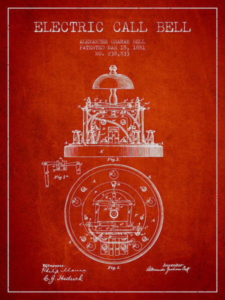 Bell Digital Art - Alexander Graham Bell Electric Call Bell Patent From 1881 - Red by Aged Pixel