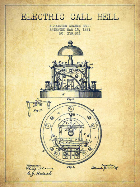 Bell Digital Art - Alexander Graham Bell Electric Call Bell Patent From 1881 - Vint by Aged Pixel