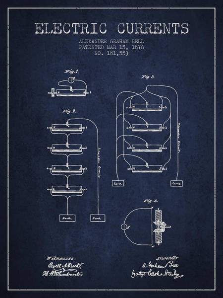 Bell Digital Art - Alexander Graham Bell Electric Currents Bell Patent From 1876 -  by Aged Pixel