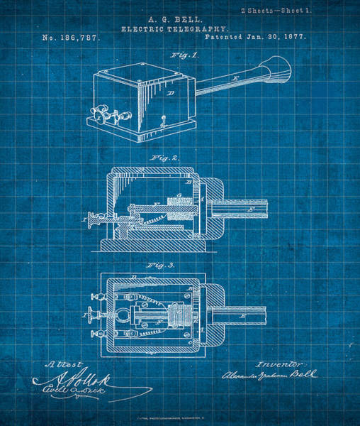 Electric Mixed Media - Alexander Graham Bell Electric Telegraphy Patent 1877 by Design Turnpike