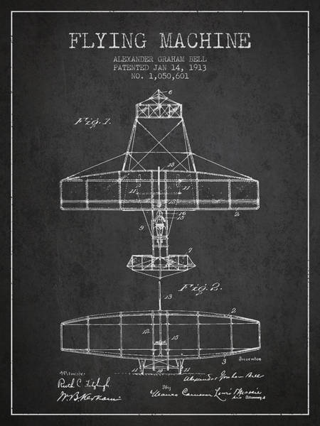 Bell Digital Art - Alexander Graham Bell Flying Machine Patent From 1913 - Dark by Aged Pixel