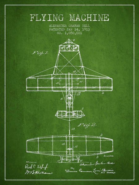 Bell Digital Art - Alexander Graham Bell Flying Machine Patent From 1913 - Green by Aged Pixel