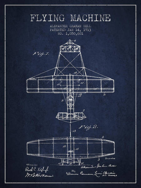 Bell Digital Art - Alexander Graham Bell Flying Machine Patent From 1913 - Navy Blu by Aged Pixel