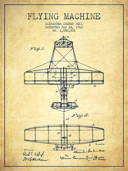 Bell Digital Art - Alexander Graham Bell Flying Machine Patent From 1913 - Vintage by Aged Pixel