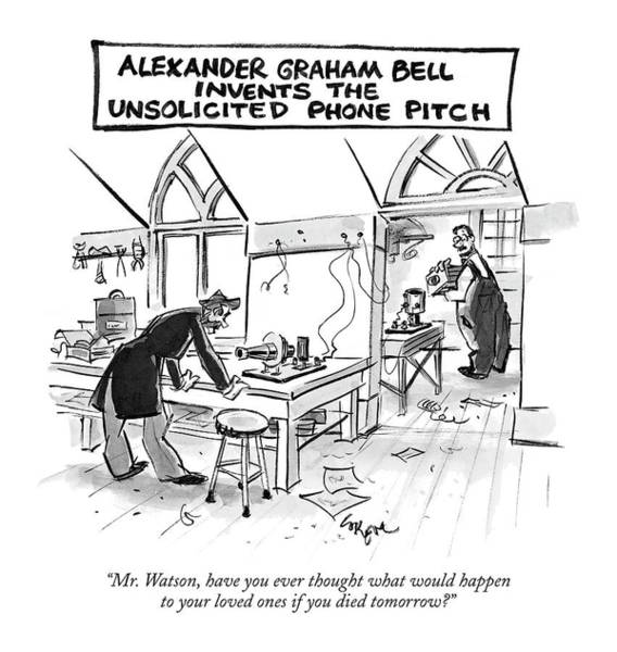 Invention Drawing - Alexander Graham Bell Invents The Unsolicited by Lee Lorenz