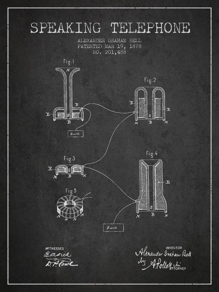Bell Digital Art - Alexander Graham Bell Speaking Telephone Patent From 1878 - Dark by Aged Pixel