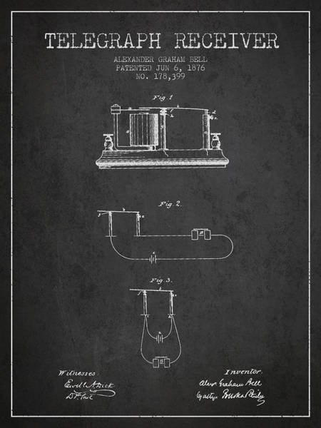 Bell Digital Art - Alexander Graham Bell Telegraph Receiver Patent From 1876 - Dark by Aged Pixel