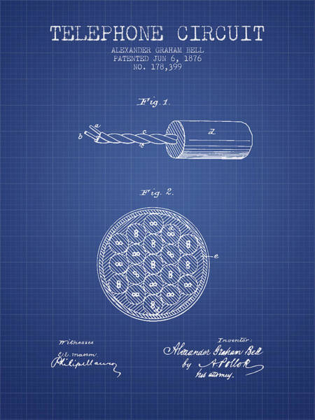 Bell Digital Art - Alexander Graham Bell Telephone Circuit Patent From 1876 - Bluep by Aged Pixel