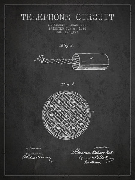 Bell Digital Art - Alexander Graham Bell Telephone Circuit Patent From 1876 - Dark by Aged Pixel