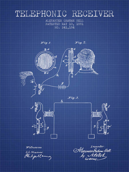 Bell Digital Art - Alexander Graham Bell Telephonic Receiver Patent From 1881- Blue by Aged Pixel