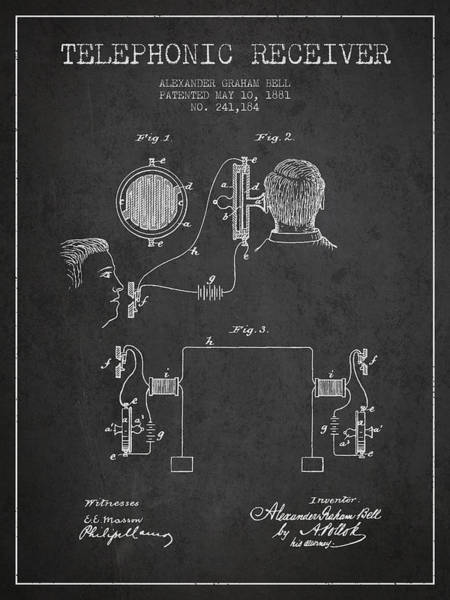 Bell Digital Art - Alexander Graham Bell Telephonic Receiver Patent From 1881- Dark by Aged Pixel