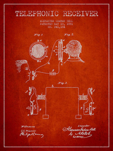 Bell Digital Art - Alexander Graham Bell Telephonic Receiver Patent From 1881- Red by Aged Pixel