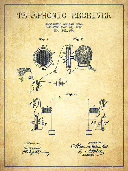 Bell Digital Art - Alexander Graham Bell Telephonic Receiver Patent From 1881- Vint by Aged Pixel
