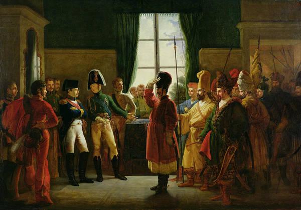 Alexandre Photograph - Alexander I 1777-1825 Presenting The Kalmuks, Cossacks And Bashkirs To Napoleon I 1769-1821 by Pierre-Nolasque Bergeret