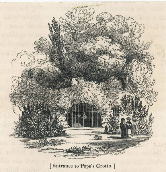 Wall Art - Drawing - Alexander Pope  Entrance To The Grotto by Mary Evans Picture Library
