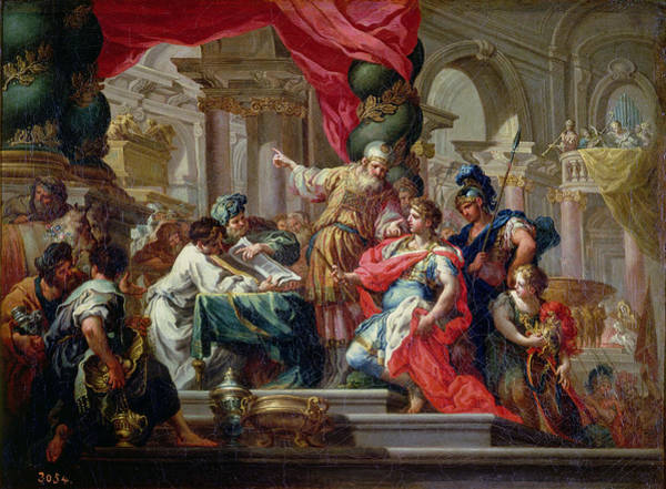 Wall Art - Photograph - Alexander The Great In The Temple Of Jerusalem, C.1750 Oil On Canvas by Sebastiano Conca