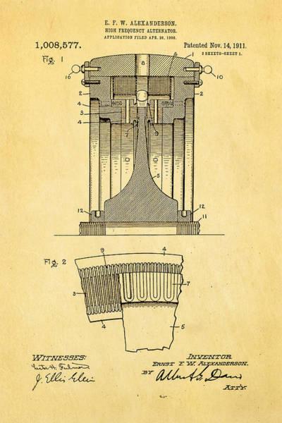 Fitter Photograph - Alexanderson Altenator Patent Art 1911  by Ian Monk